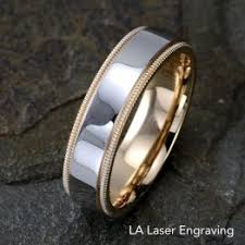 gold wedding band with white gold engagement ring white gold rings lalaserengraving
