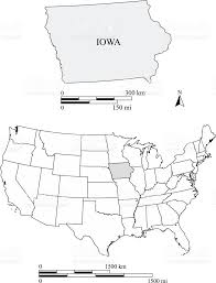 Vector Usa Map by Iowa State Of Us Map Vector Outlines With Scales Of Miles And