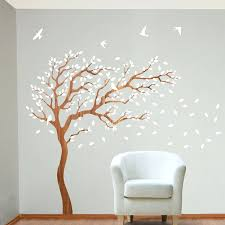 decorations breezy tree wall decal and bird stickers in white