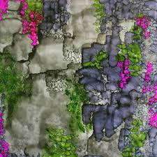 Purple Flower On A Vine - vines on a stone wall