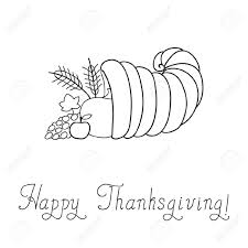 thanksgiving day cornucopia doodle template royalty free cliparts
