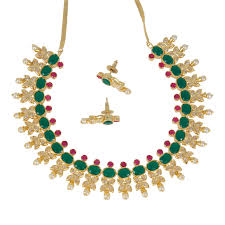 emerald pearl necklace images Gold plated traditional bridal jewelry emerald ruby stones with jpg
