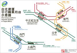 Taipei Mrt Map File Cross Platform Transfer In Taipei Metro Png Wikimedia Commons