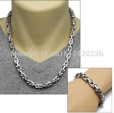 silver byzantine chain necklace images Good price heavy silver tone square byzantine chain necklace jpg