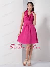 beautiful graduation dresses hot pink halter chiffon prom graduation dress