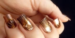 weekly mani copper chrome nail design