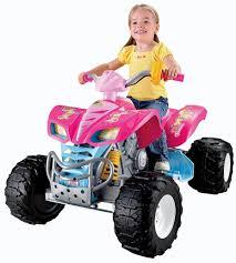 Kids Girls Dolls 4 Wheeler Amazon Com Power Wheels Barbie Kawasaki Kfx With Monster Traction