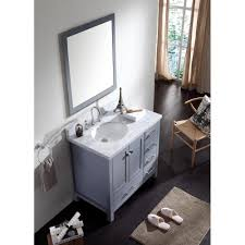 ace 37 inch single sink grey finish bathroom vanity carrara white