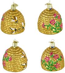 woven beehive basket ornament for tree set of 3 nova68
