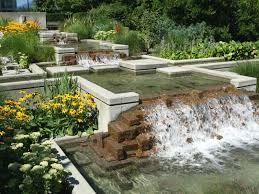 home decor ultra modern backyard waterfall design with brown