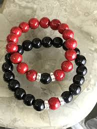 beads bracelet designs images His hers black red beads bracelets designs by siri jpg