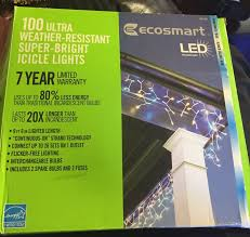 ecosmart 200 led icicle lights ecosmart 100 ultra weather resistant super bright icicle lights