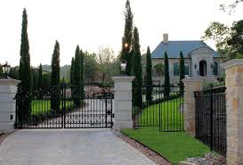 iron entry gate for a french classical residence in austin tx
