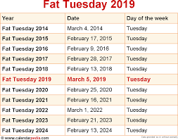 when is tuesday 2019 2020 dates of tuesday