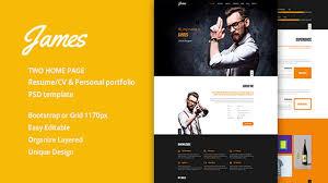 Resume Web Templates James Resume Cv U0026 Personal Portfolio Psd Template Themeforest