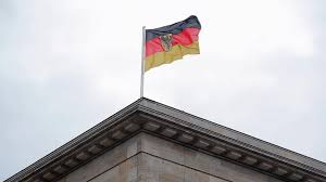 german government flag with eagle berlin bundesrat germany stock