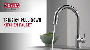 delta single handle kitchen faucets delta trinsic single handle pull sprayer kitchen faucet with