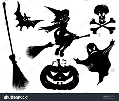 halloween silhouettes witch pumpkin witches broom stock vector