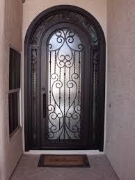 black color fiberglass exterior single doors wrought iron for