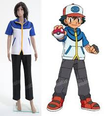 pokemon ash ketchum cosplay costume woman girls lady cotton