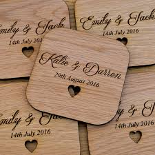 wedding coasters individual personalised rounded square wooden coasters any wording