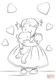 lovely hugging a teddy bear coloring page free printable
