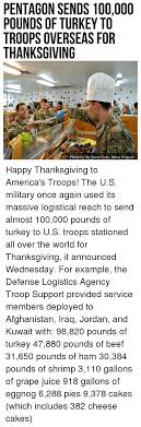 pentagon sends 100000 pounds of turkey to troops overseas for