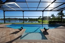 modern pool enclosure with picture windows screen enclosures