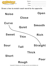 draw line connecting opposite adjectives worksheet turtle diary