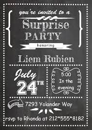 beautiful surprise party invitation card with chalkboard theme and