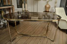 Glass Top Oval Dining Table Chrome And Brass Oval Dining Table With Smoked Glass Top At 1stdibs