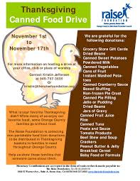 the raise foundation annual thanksgiving food drive