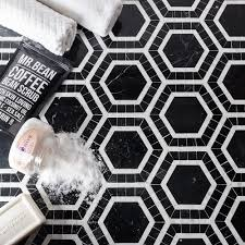 Tile Black And White Marble by Shop 12 X 12 Nova Black Hole Hexagons Polished Marble Tile In Nero