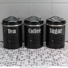 tea coffee sugar canister set black vintage style kitchen jars