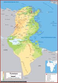 tunisia physical map tunisia maps academia maps