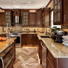 all wood cabinets sunshiny granite counter with bulb lamp