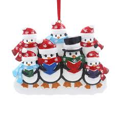 snowflake penguin family of 7 personalized christmas tree ornament