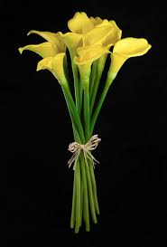 yellow lilies touch yellow calla wedding bouquet 14