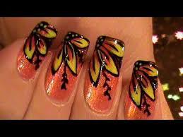 peachie side flowers ombre gradient nail art design tutorial video