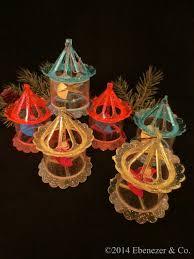 set of six vintage plastic spinner carousel ornaments