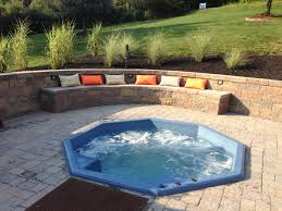 backyard entertaining area sunken tub jacuzzi with built in