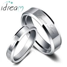 Engraved Necklaces For Couples Forever Love Engraved Tungsten Wedding Bands Set For Women And Men