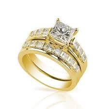 yellow gold wedding ring sets moissanite princess cut bridal set yellow gold my faux