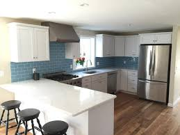 Glass Subway Tile Backsplash Kitchen Kitchen White Contemporary Kitchen With Large Subway Tile