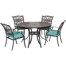 Blue Dining Set by Hanover Traditions 5 Piece Outdoor Round Patio Dining Set With