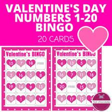 valentines bingo s day numbers 1 20 bingo by hot chocolate printables