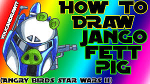 how to draw jango fett pig from angry birds star wars 2