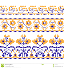 set of ethnic ornament pattern with cross stitch flower stock