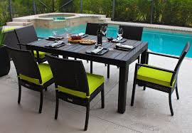 Lime Green Patio Furniture by 7 Piece Outdoor Patio Furniture Dining Table Set W Polywood Top