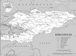 Black And White Map Kyrgyzstan Map